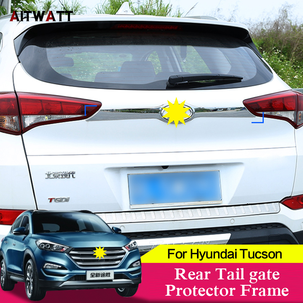 Car Accessories For Hyundai Tucson 2015-2017 Rear Tail Gate Protector Frame Molding Logo Lid Cover Trunk Trim ABS Chrome Sticker
