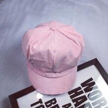 Вельветовая Женская художественная восьмиугольная шляпа модная женская берет в стиле винтаж Кепка таксистка газетная Кепка плоская остроконечная шляпа полосатый берет Ретро британская шляпка