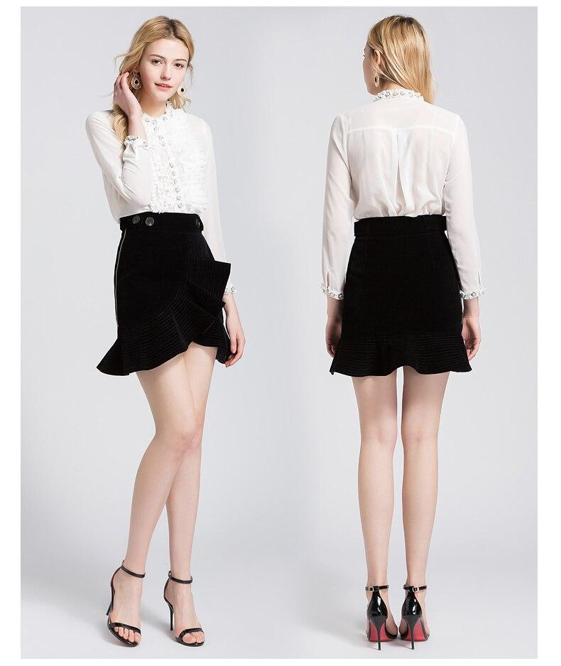 Urumbassa femmes jupe costumes Sexy blouses transparentes + Mini jupes deux pièces ensemble 2018 printemps été OL costumes S275