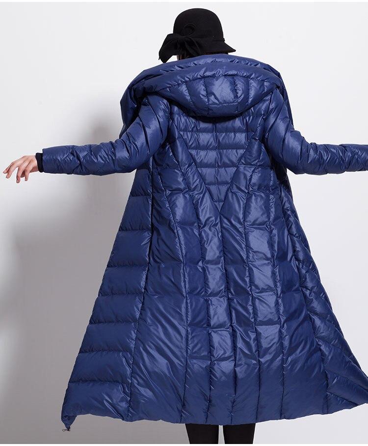 Женский зимний пуховик, водонепроницаемый длинный толстый большой размер, шапка, черный, темно синий, женские куртки