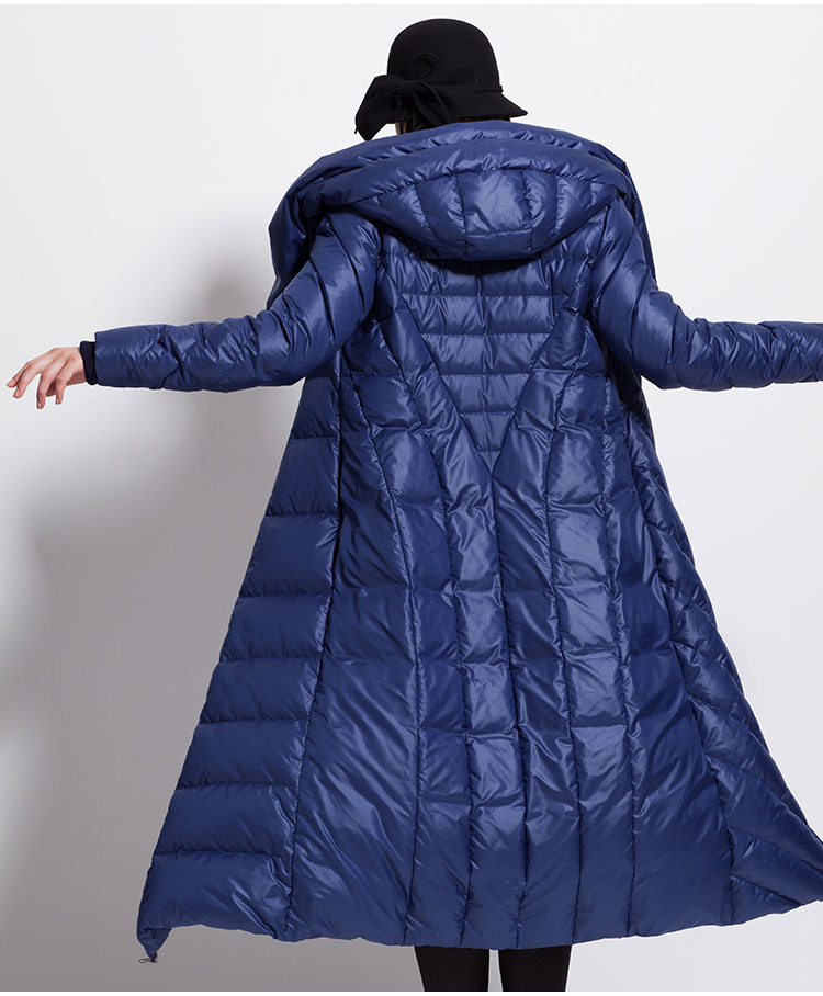 Womens Winter Waterproof Long Lage Plus Size Coat Hat Thick  Large Size  Black Dark Blue Female Down Jackets  Abrigo Muje