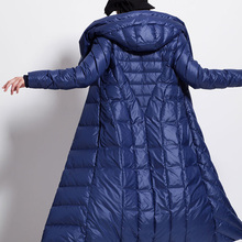 womens winter waterproof long lage plus size coat hat thick large size black dark blue female