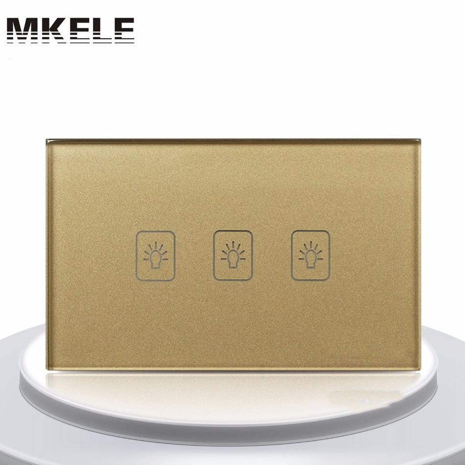 Sensor Switch Touch Switch 3 Gang 1 Way US Standard Gold Touch Screen wall switch wall socket for lamp 3 gang 1 way touch screen wall switch for lamp touch switch white uk standard