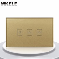 Touch Switch 3 Gang 1 Way US Standard Gold Touch Screen Wall Switch Wall Socket For