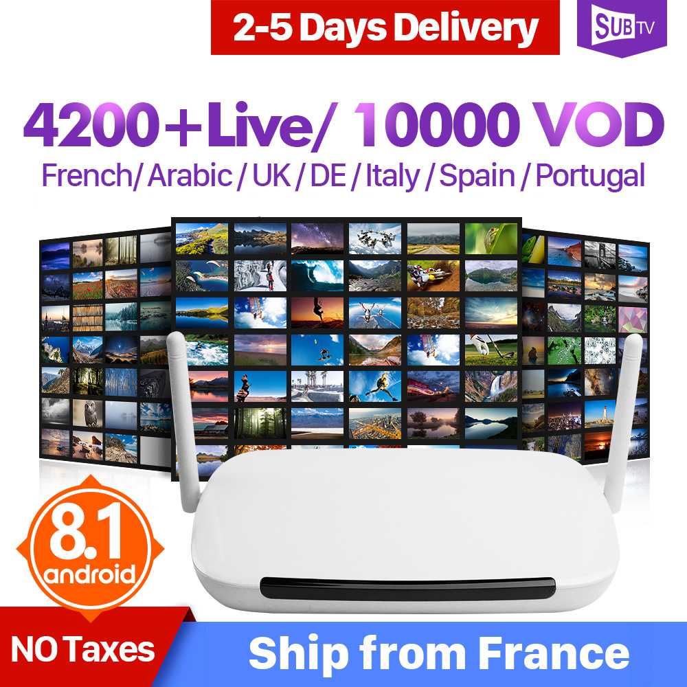 IPTV Box France Arabic SUBTV Subscription Android 8 1 Box RK3229 Full HD Live 4K Turkey