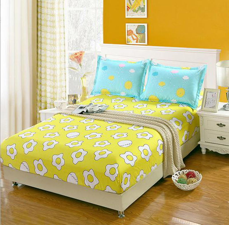 Yellow Blue Gray Fitted Sheet Bedding Mattress Cover Four