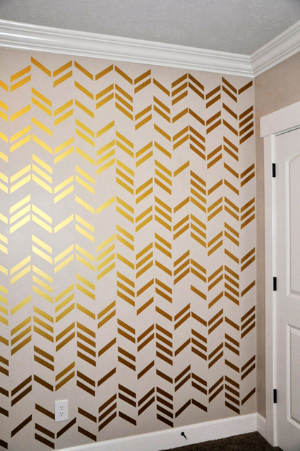 Pcsset Free Shipping Wallpaper Wall Decals Gold Herringbone - Wall decals gold
