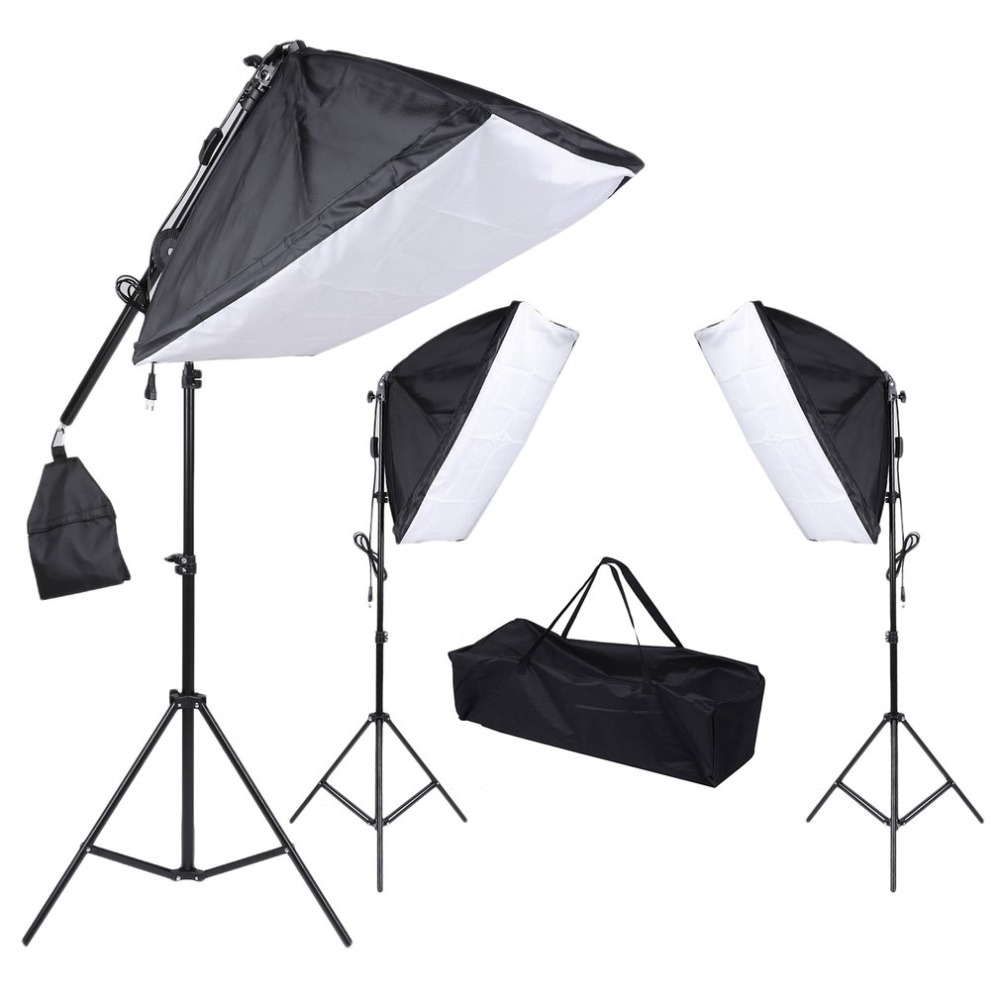 Softbox Light kit 3PCS Lamp Tripod Set With Portable Hand Bag Studio Essentials Photo Equiptment Continuous Lighting Kit dhl free shipping single lamp softbox photo light softbox set photographic equipment photo studio light stand kit tripod kit