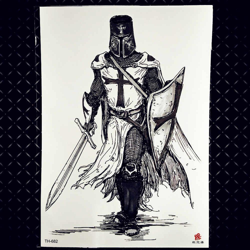 大クールスパルタ戦士一時的な男性のための男の子古代の剣闘士偽防水ビッグ腕のタトゥーステッカーアレス火星