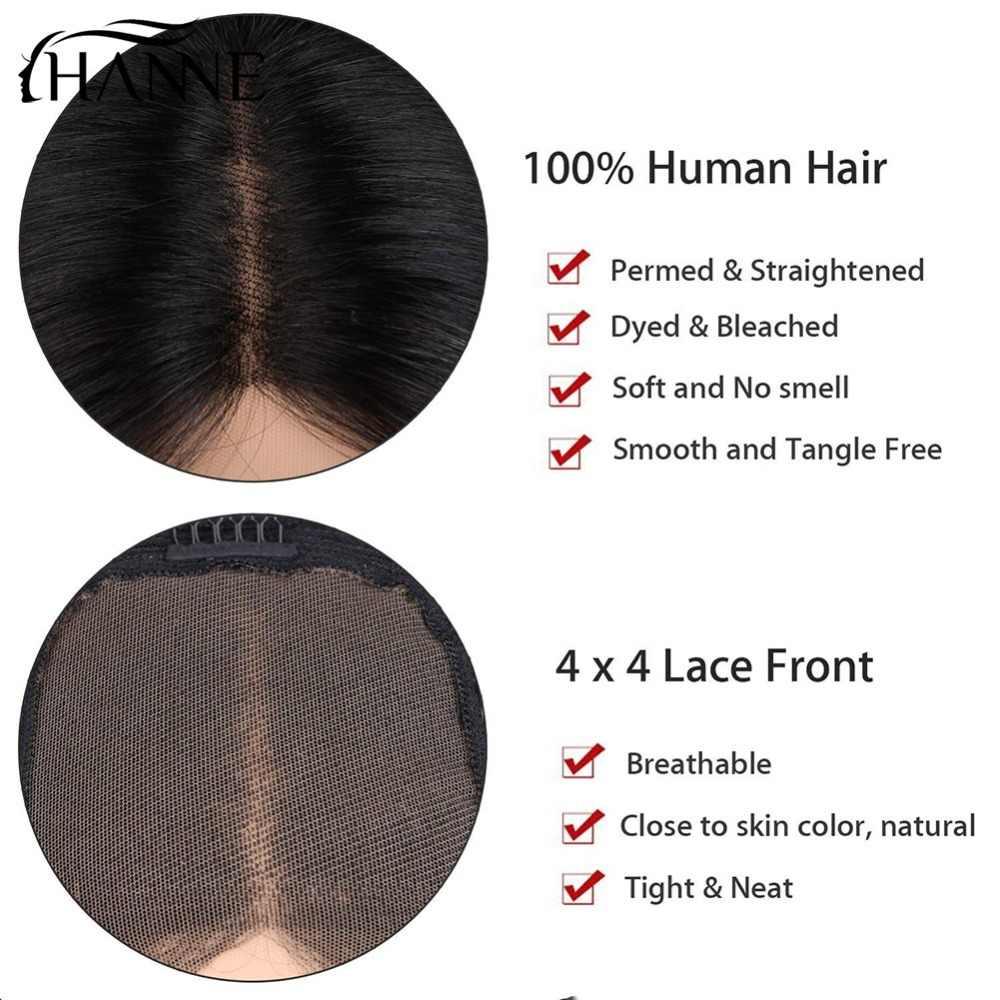 Парики из натуральных волос на кружевной основе, 4*4, парик из Омбре, серые бразильские прямые парики Реми для черных/белых женщин, HANNE Hair