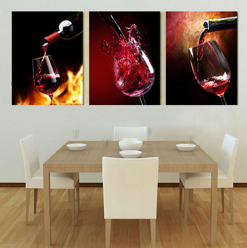 3 Piece Modern Kitchen Canvas Paintings Red Wine Cup Bottle Wall Art Oil Painting Set Bar Dinning Room Decorative Pictures In Calligraphy From