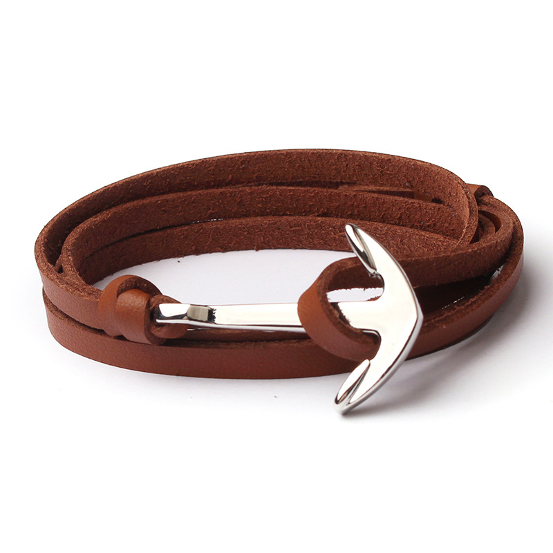 NIUYITID Men Anchor Bracelet Jewelry Brown Black Rope Chain Leather Bracelets Trendy 2019 Unisex Women Man Bracelent Male (5)