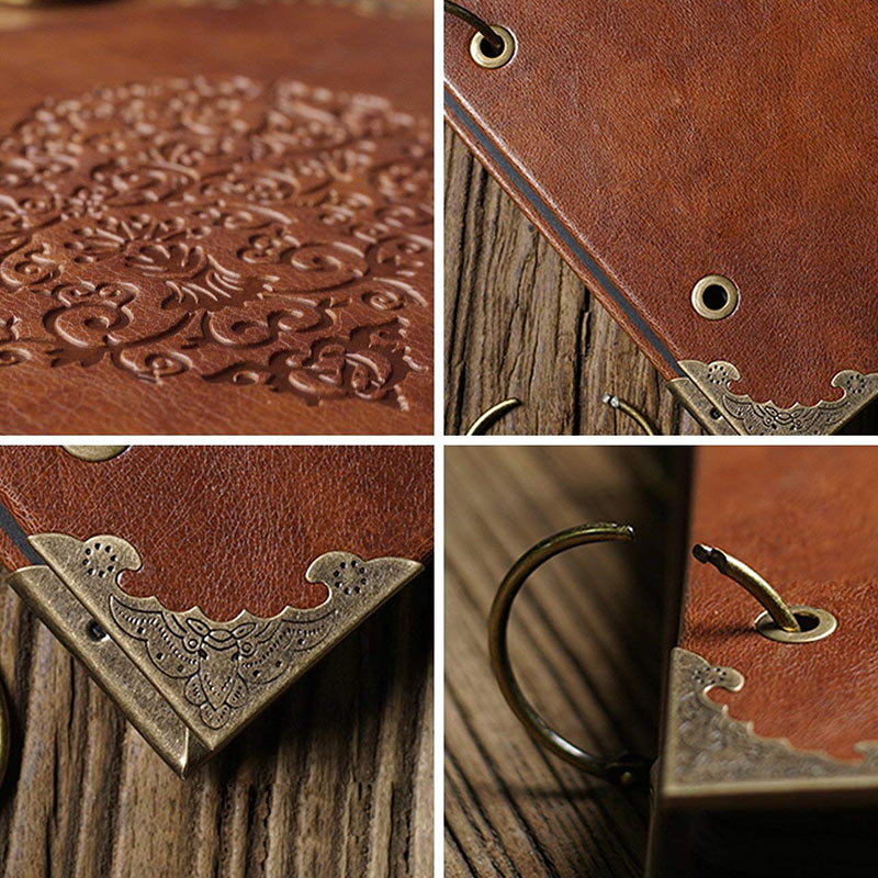 Vintage Three-Ring Binder Picture Photo Album Heart-Shaped Leather Cover Scrapbook Diy Wedding Guest Book Family Memory Book (3)
