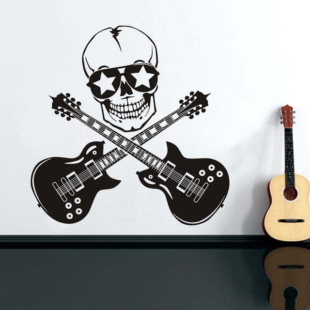 Cool Skull And Guitar Wall Stickers Vinyl Rock Style Decals Study ChildrenS Room Backdrop Decorative