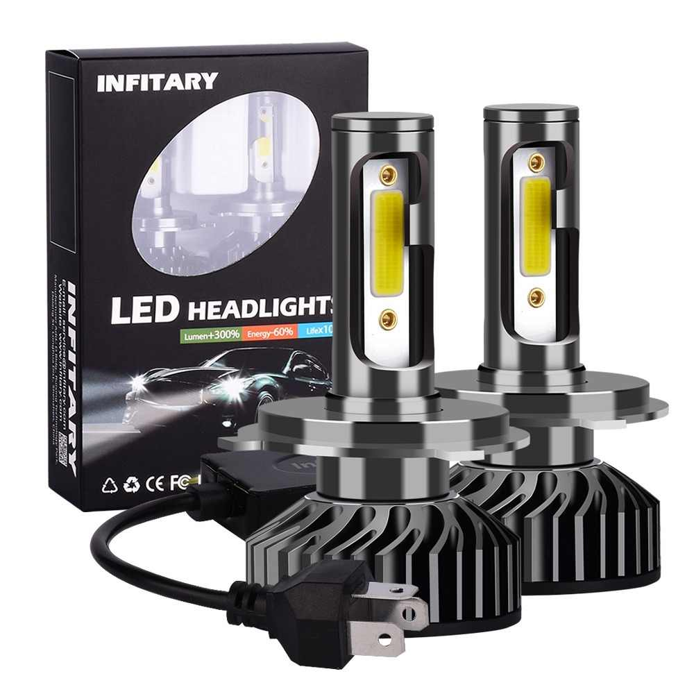 Infitary 2pcs H7 LED H1 H11 9005 9006 H4 LED Car Headlight 72W 8000LM Auto Headlamp Light Bulb Fog Lights White 6500K 12V Lamp