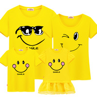 Fashion Summer Family Matching Clothes Short Sleeve T Shirt Clothes For Mother And Daughter Dresses 100