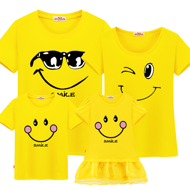 Family Matching Clothes Yellow Smile Outfit