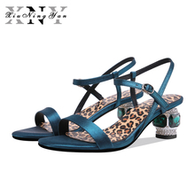 купить New women sandals genuine leather thick high heels sandals woman mixed colors cross buckle ladies dress party shoes дешево