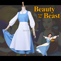 Beauty And The Beast Belle Cosplay Costume Blue Apron Suit Halloween Costumes For Adult Women Dress