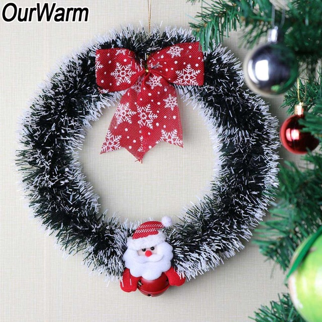 Us 4 99 Ourwarm 13 Wreath Christmas Door Decoration Santa Claus Window Door Christmas Decorations For Home Outdoor New Year Product In Pendant