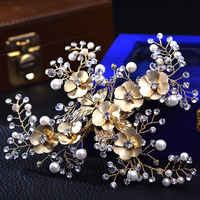 Luxury Copper Seven Flowers Hair Clips Pearl Bridal Hair Accessories Crystal Hair Combs Handmade Wedding Jewelry