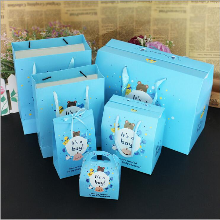 10pcs/set Birthday Candy Bag With Handle Event Party Shopping Bag Baby Shower Decoration Its a Boy Classic Gift Wrap