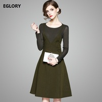 New Korean Clothing Ladies Dress Autumn Winter 2017 Women Army Green Color Long Sleeve Casual Sweet