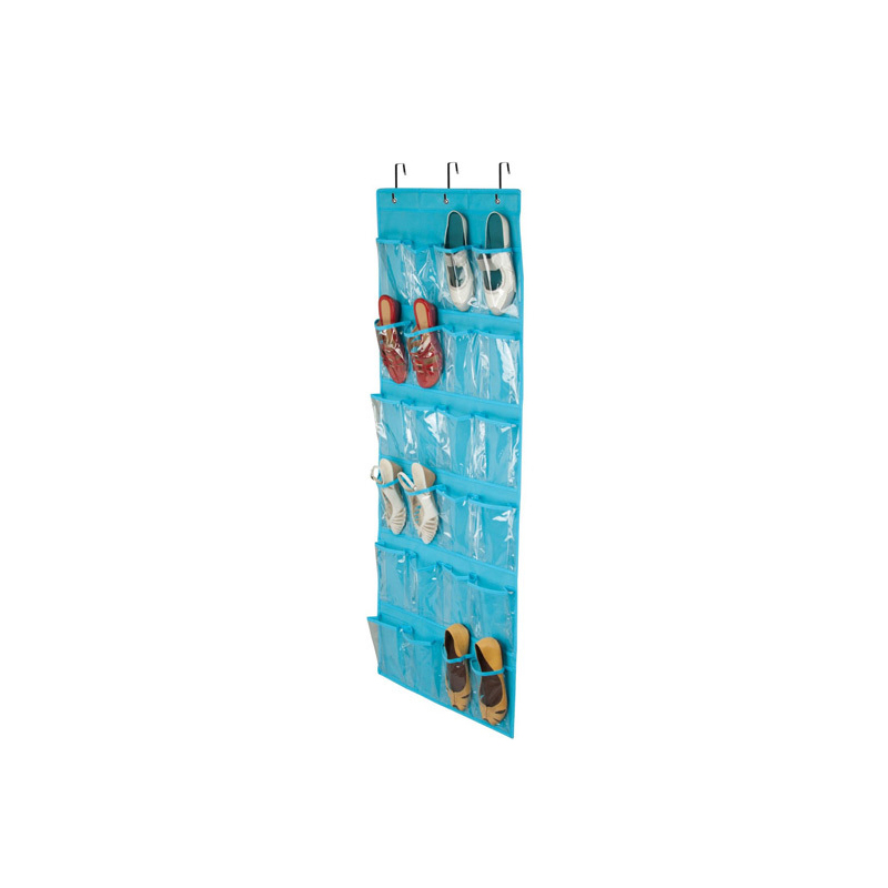 24 Pockets Over The Door Shoe Organizer Storage Hanging Bag Non Woven Door Transparent Storage Bag Box in Storage Bags from Home Garden