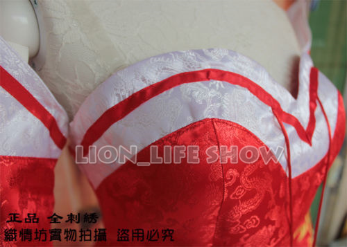 LOL Cosplay Costume The Nine-Tailed Fox Ahri Classical Skin Embroidery Red Dress
