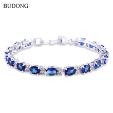BUDONG 17cm Chain Link Luxury Bracelets Women Jewelry White Gold Plated created sapphire Blue Oval Crystal Zirconia Bangle L120