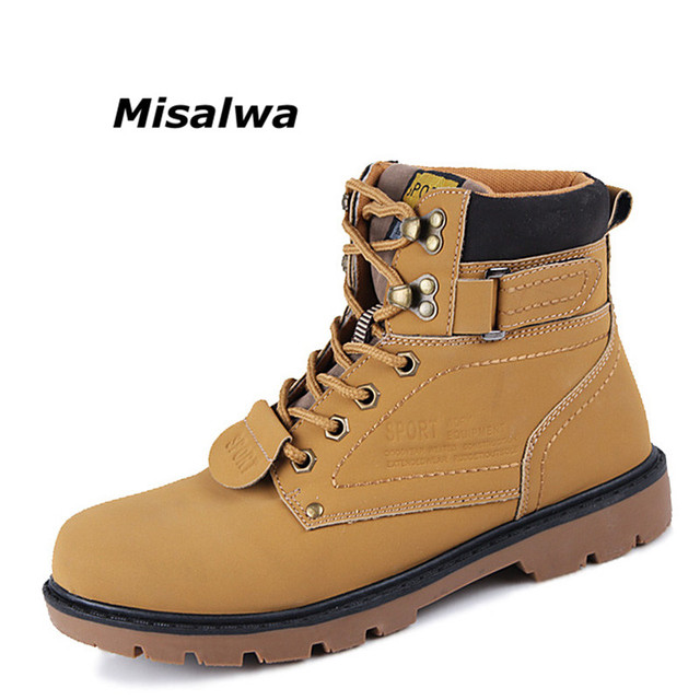dca2d66f25 Misalwa Men Ankle Boots Lace Up Fashion Autumn Winter Men s Waterproof Work  Combat Bootie Boot Leather Leisure Snow Boots