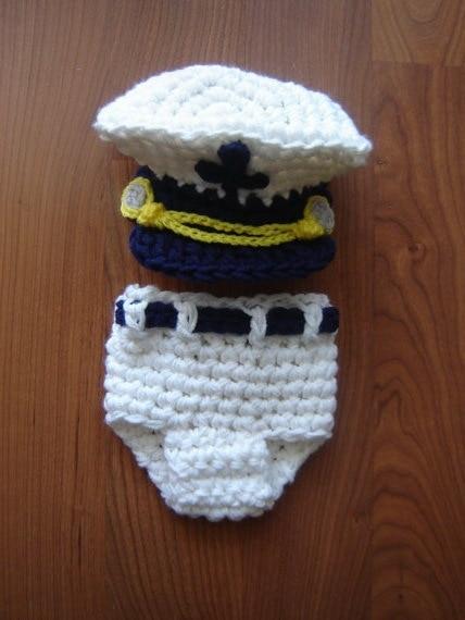 Capitán de mar Marina Bebé Conjunto Crochet Sombrero y Cubierta Del Pañal Recién  Nacido apoyo de ccf9dc24c45