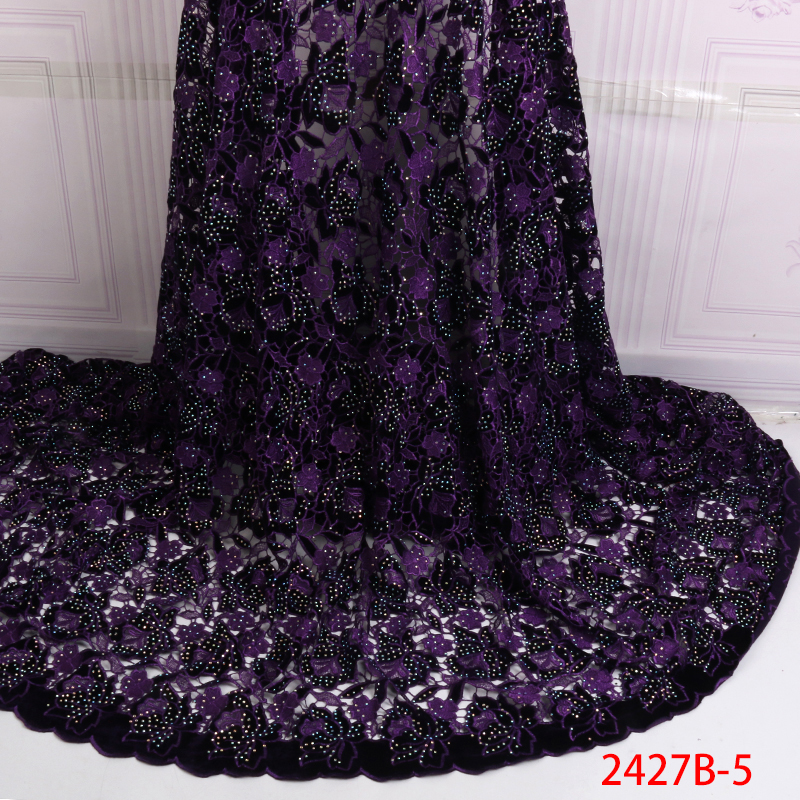 2019 African Velvet Lace Fabric,Latest French Cord Lace Fabric,High Quality Guipure Laces With Stones For Wedding KS2427B-5