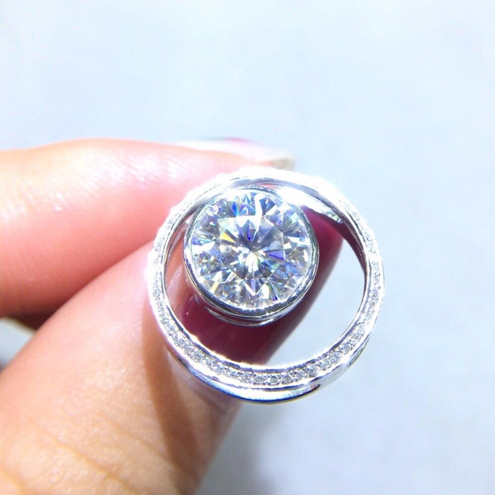 Fine Jewelry Real 18K Gold AU750 G18K 2ct Moissanite Diamond Pendant Gemstone Necklaces for Women