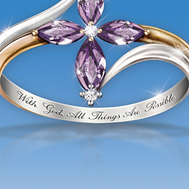 Faith Conquers All Amethyst Cross Ring 5