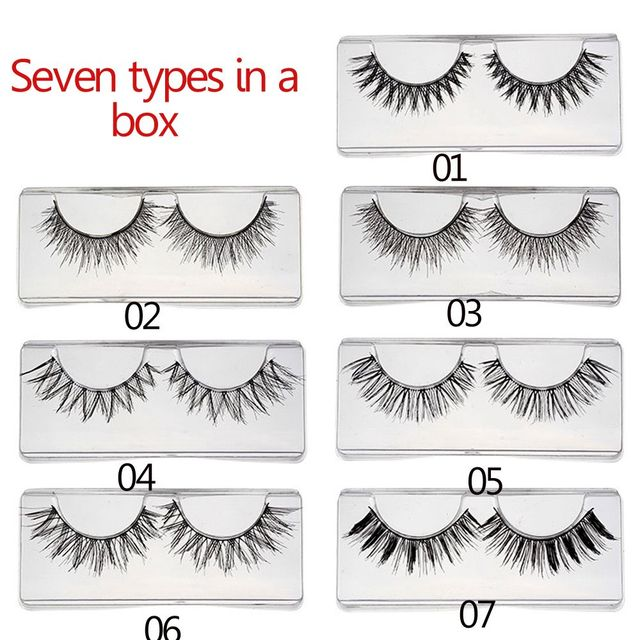7 Pairs New Fashion Soft Handmade Mixed Types False Eyelashes