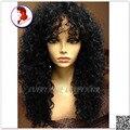 8A cabelo brasileiro Virgem Superior sem cola cheio peruca do laço cacheados peruca dianteira do laço com franja do cabelo do bebê perucas de cabelo humano Para Preto mulheres