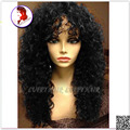 8A pelo brasileño Virginal llena del cordón sin cola Superior peluca del cordón rizado peluca delantera con flequillo pelo del bebé pelucas de pelo Negro Para mujeres