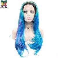 SW שיער ארוכות שכבות סינתטיות פאות תחרה מול קו שיער למראה טבעי תערובת מדגיש צהוב אדום כחול חום Fiendly סיבי פאות