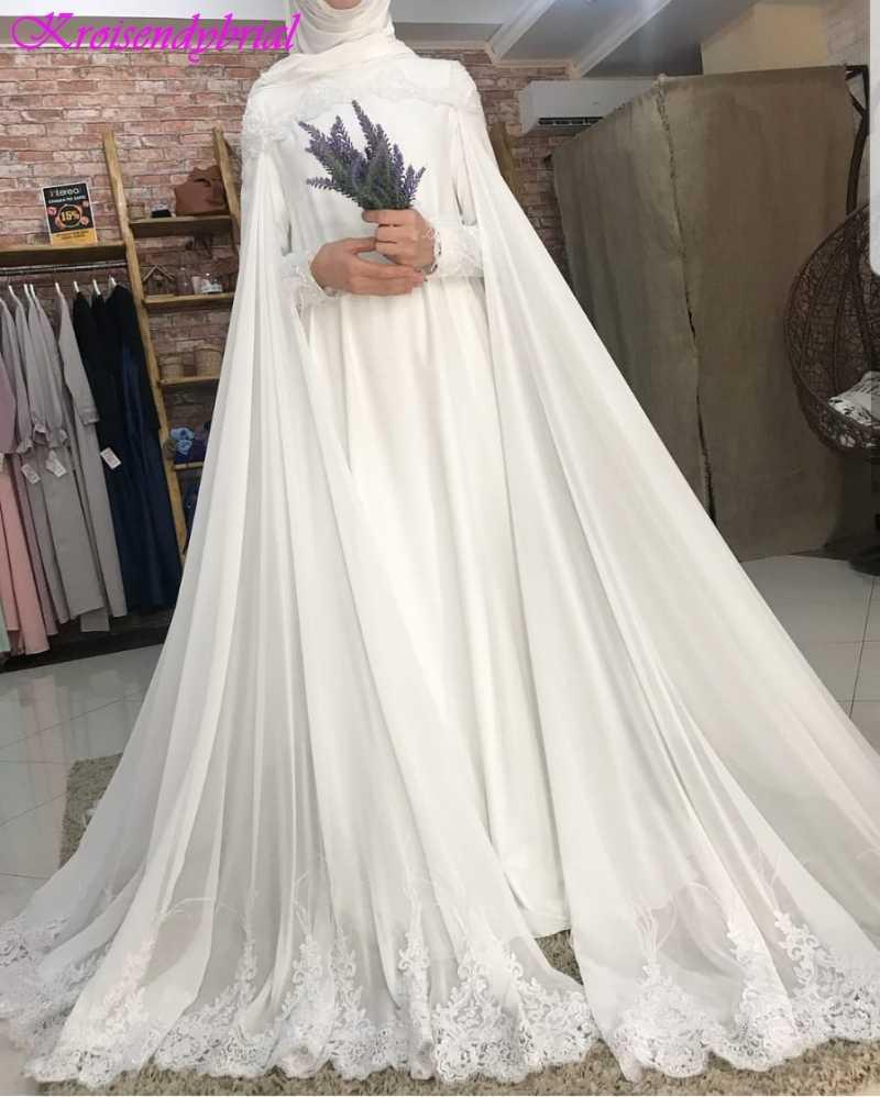 QFS029 Romântico Manga Comprida Muçulmanos Vestidos de Casamento robe de mariage Custom Made Vestidos de Noiva 2019 Vestidos De Noiva