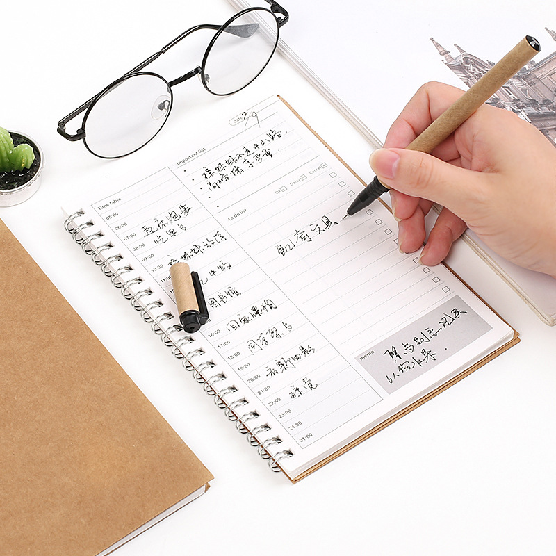 Creative Coil Timetable Day Planner Kraft Paper Cute Daily Journal Planner Organizer Notebook Stationery Office School Supplies 1pc kawaii and cute notebook paper lovely red hat girl agenda week day planner journal record stationery office school supplies