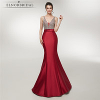 Sexy Backless Mermaid Evening Dresses 2018 Real Photos Robe De Soiree Deep V Neck Formal Women Beaded Special Occasion Dress