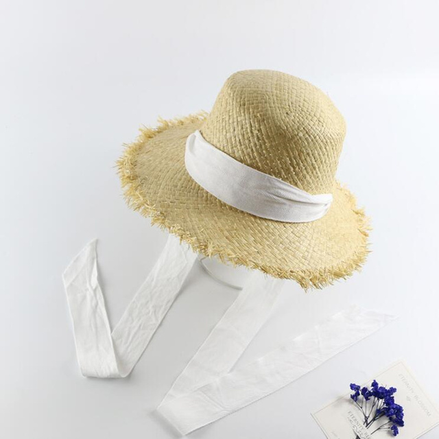 Handmade Weave Raffia Sun Hats For Women Black Ribbon Lace Up Large Brim  Straw Hat Outdoor Beach Summer Caps Chapeu Feminino 9224393a9602