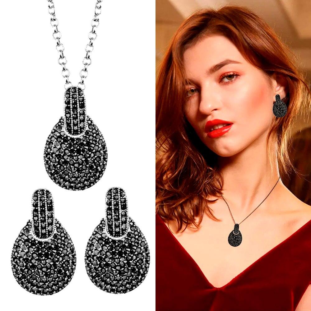 SINLEERY Vintage Teardrop Jewelry Sets Antique Silver Color Full Cubic Zirconia Earring Necklace Set TZ068 SSO