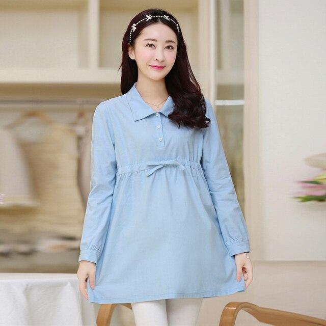 8e876b926 2016 Maxi ocasional blusa de maternidad vestidos ropa embarazo Tops ropa de  manga larga oficina de