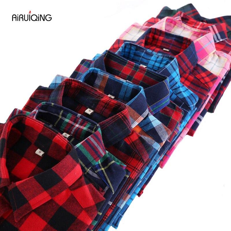 Mode automne chemise à carreaux femmes Blouses à manches longues Blouse femmes chemises à carreaux Blusas Femininas flanelle femmes hauts de mode