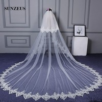 Two Layers Wedding Veils Long for Bridal Lace Edge Cathedral Veil vestido de noiva 2018 Accessories SBV35