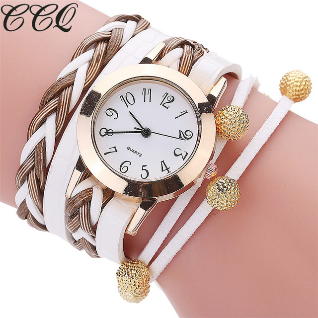 CCQ Brand Luxury Gold Fashion Quartz Watch Casual Braided Leather Women Bracelet