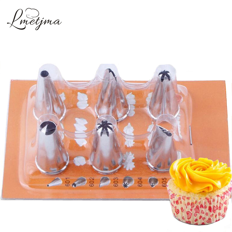 6 Shape Flowers Piping Nozzles +1 Coverter 1Set Cake Decoration Tip Cake Fondant Pastry Icing Cream Cake Decoration Tool PY0009