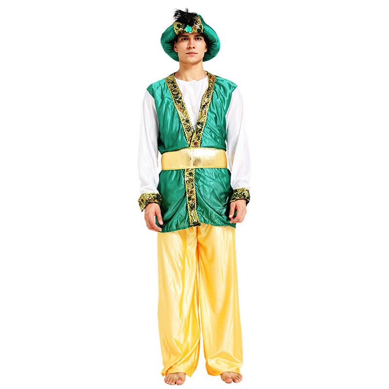Adult Men Arab Chief Cosplay Costume Party Fancy Dress Male Prince King Ancient Egypt Headpiece Halloween Costume
